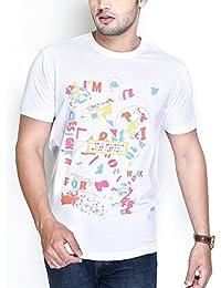 The Glu Affair Men's Cotton White Round Neck T-shirt