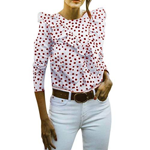 Mujer V Palabra Espalda Abierta Volantes Punto De Ola Manga Larga Top,Belasdla Camiseta para Mujer Estilo Vintage Plisada De Gasa con Lunares para Uso Diario Fiesta DíA Y Playa