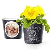 Facepot Mama Geschenk - Blumentopf (ø16cm) zum Geburtstag, Weihnachten oder Muttertag mit Bilderrahmen für Zwei Fotos (10x15cm) - Mutter zu Sein ist der Beste Job der Welt