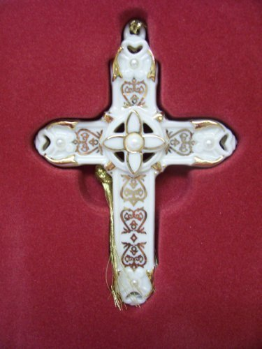 Lenox Florentine and Pearl Cross Christmas Tree Ornament by The Lenox Corporation -