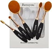 Pinceles de Maquillaje Becoyou Set de Brochas de Maquillaje Profesional Ovales Pinceles Cosméticos