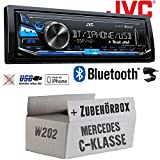 Mercedes C-Klasse W202 - JVC KD-X341BT - Bluetooth | MP3 | USB | Android | iPhone Autoradio - Einbauset