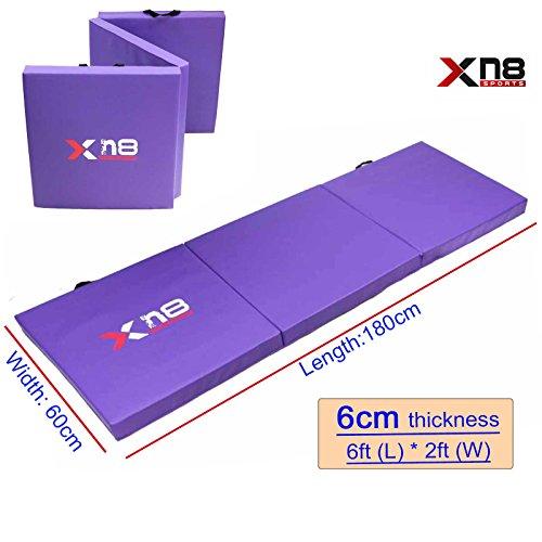 Yoga Tri Folding, über 6 cm dick, starke und feste Schaumstoffmatten für Yoga, Fitness, Bauchmuskeltraining, Fitnesstraining zuhause, Isomatte, violett (Fold Tri Mat)