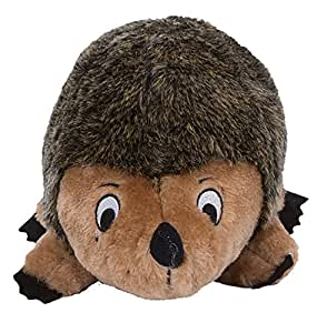 Outward Hound Kyjen 32022 Hedgehogz Dog Toys Plush Rattle Grunt and Squeak Toy, Large, Brown