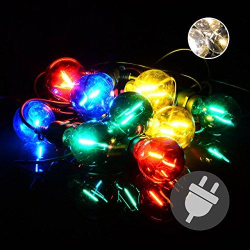 Nipach GmbH LED Partylichterkette Partybeleuchtung Lichterkette für Weihnachten Hochzeit Kindergeburtstag - 10 Glaskugeln mit Trafo - innen & außen - bunt - Bunte Grenze