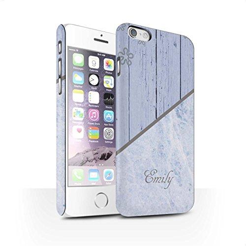 Personalisiert Individuell Holz/Marmor Matte Hülle für Apple iPhone X/10 / Granit/Hölzern Design / Initiale/Name/Text Snap-On Schutzhülle/Case/Etui Beunruhigt Blau