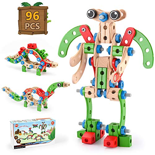 VATOS Wooden Building Toy, Construction Toy STEM Learning Toys Building Kit 96 PCS, Fun Educational Building Toy Construction Set for Boys and Girls Ages 3 4 5 6 7 8 9 10 Year Old Best Toy Gift