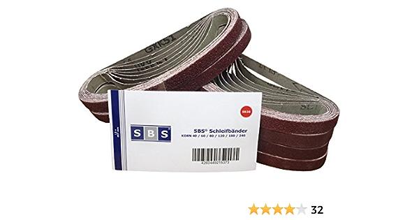 Bandes abrasives 13 x 457 mm chacune 5 x grain 60//80//100//120//240//320 pour papier abrasif Black /& Decker Powerfeile Jeu de bandes abrasives 30 pi/èces