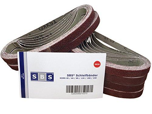SBS Schleifbänder | 13 x 457 mm | 48 Stück | Mix Pack | 8 St. je Korn 40/60/80/120/180/240