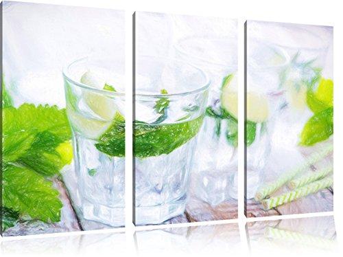 Mojito-Gläser mit Minze Kunst Buntstift Effekt 3-Teiler Leinwandbild 120x80 Bild auf Leinwand, XXL...