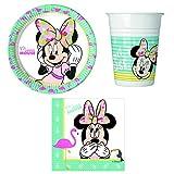 Unbekannt 36-teiliges Minnie Maus tropisch Party-Set inkl. Pappteller, Kunststoffbecher und Papierservietten