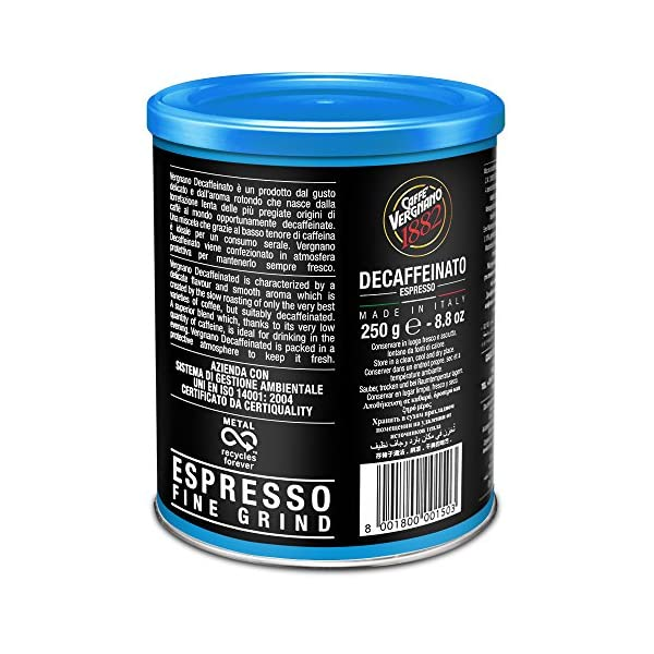 Caffè Vergnano 1882 Lattina Arabica Decaffeinata, 250 gr - 1 Pacchetto 3 spesavip