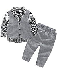 Kinder Geschenk Babyanzug Jungen Gentleman Hemd Plaid + Weste + Hose Bekleidungsset Baby Kleinkind Kinderanzug