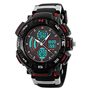 Digilog Rugged Red Multi Function Dual Time Analog-Digital Sports Watch for Men & Boys (1211 red)