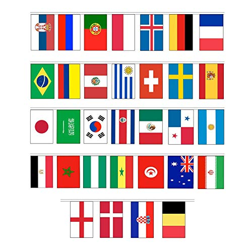 Wansan 2018squadre di calcio coppa del mondo bandiere bandierine nazioni string bandiera bandierine in tessuto per calcio notte decorazione, national b, 21x14 cm