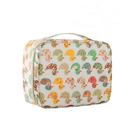 Amoyie Kulturtasche mit Mützen für Zahnbürsten, Kosmetiktäschchen Wasserdicht, Toilettentasche Kulturbeutel Mädchen Damen, gelbe Ente