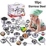 Bescita 16er/set Kinder Spielhaus Küche Kinderspielzeug Kochgeschirr Kochutensilien Töpfe Pfannen Geschenk