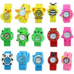 HeroNeo® Cute Cartoon Unisex Children Kid Sports Bendable Rubber Strap Quartz Wrist Watch