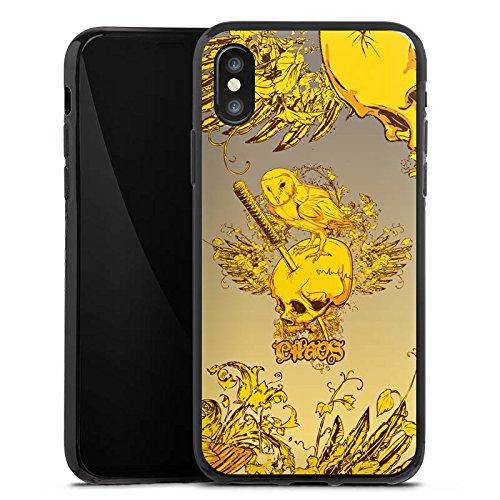 Apple iPhone X Silikon Hülle Case Schutzhülle Schädel Eule Tattoo Silikon Case schwarz