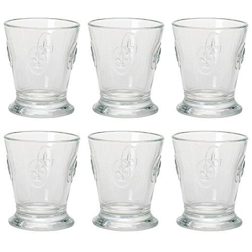 BISTROT Lot de 6 verres à eau bas Motif fleur de lys 25 cl