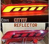Rear DRL Bumper Light/Back Bumper Tail Reflector NEON Brake Fog Light for Honda City+Auto Concept Logo Keyring for Honda City
