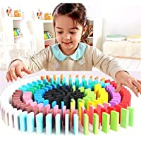 The Treasure Box Wooden Dominos Blocks 100 PCS with 12 Different Color Wooden for Kids