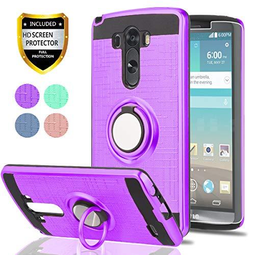 LG G3Handy Fall mit HD Handy Displayschutzfolie, ymhxcy 360Grad Drehbar Ring & Halterung Dual Layer Beständig Back Cover für LG G32014-zh, ZH-Purple (Fall Tmobile Lg G3)