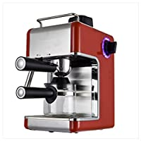 Cookspace ® 4-Cup Steam Espresso & Cappuccino, Latte Maker, Stainless Steel Coffee Maker Machine 800W 3.5bar, Red