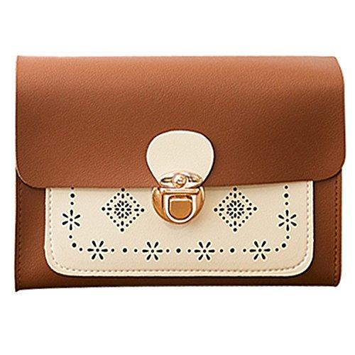 Zolimx Portable diagonal kleine quadratische Tasche Umhängetasche Handtasche, Mode Frauen geschnitzt Diagonal kleine quadratische Tasche Handytasche Geldbörse (Braun)