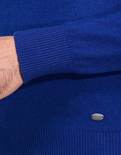 Vincenzo Boretti Herren-Pullover V-Ausschnitt slim-fit tailliert Strick-Pullover V-Neck einfarbig Baumwolle-Mix edel elegant leicht Fein-Strick für Business oder Casual Blau