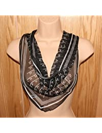 TC-Accessories Large Black White Sheer Triangle Scarf Spots Dots Lines