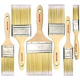 Set di 6 pennelli professionali da pittore da 2,5 cm, 3,8 cm, 5,1 cm, 6,3 cm, 7,6 cm, 10,2 cm, pennelli da pittura per armadi, ponti, recinzioni, interni ed esterni