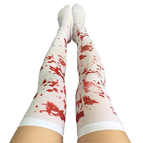 splay Halloween Gestreift Over-the-knie Krankenschwester Strümpfe Halloween Cosplay Kostüm Festival Kostüm Blut ()