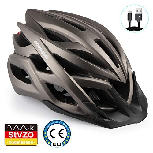 Shinmax Fahrradhelm, Fahrrad Helm Mit LED-Warnleuchte Berg Autobahn Beleuchteter Helm berghelm männer & Frauen Reiten für Erwachsene Beleuchtung Scheinwerfer Warnlichter auf Warnung Rücklicht