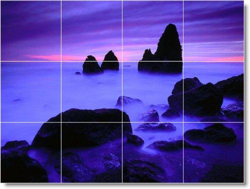 PLAYA FOTO SPLASH TILE MURAL B086  12 75X 43 18CM CON (12) 4 25X 4 25AZULEJOS DE CERAMICA