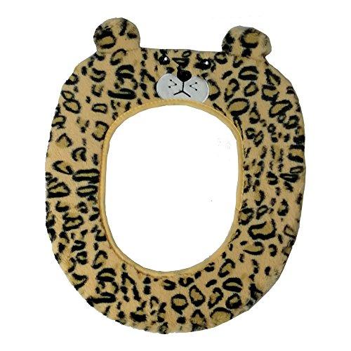 Gifts treat coprisedile per wc accessori per toilette stile animale carino morbido peluche scaldabagno (leopardo)