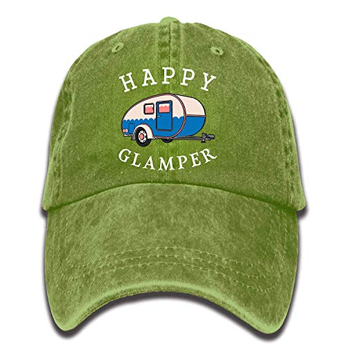 VTXINS Happy Camp Happy Glamper Vintage Washed Dyed Cotton Twill Low Profile Adjustable Baseball Cap Black Twill Visor