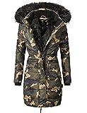 Navahoo Damen Winter Mantel Steppmantel Paula (Vegan Hergestellt) Camouflage Gr. XL