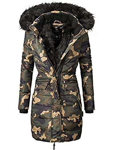 Navahoo Damen Mantel Wintermantel Steppmantel Paula (vegan hergestellt) Camouflage Gr. XL