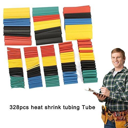 254pcs Noir Thermorétractables Connecteur Fil tube Wrap Tube Câble électrique à Manches