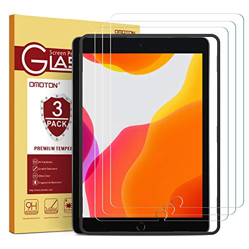 OMOTON 3 Pack Verre Trempé pour iPad 10.2 2019 7ème Génération Film Protection Ecran sans Bulle, Anti Rayures Facile Installation