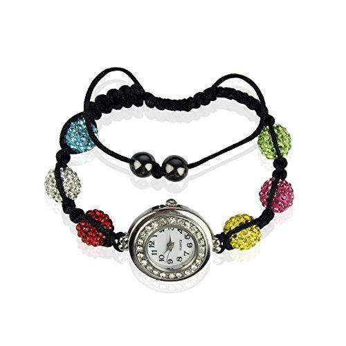 Ducomi® Ileana Zen Shamballa bracciale regolabile 6 sfere cristallo 10 mm (Multicolour)
