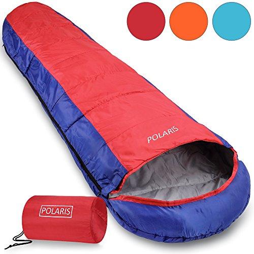 Polaris Schlafsack Mumienschlafsack Deckenschlafsack Camping Wandern Zelten - 210x75cm - ultraleicht 700g - Tragebeutel - dunkelblau/dunkelrot Farbwahl