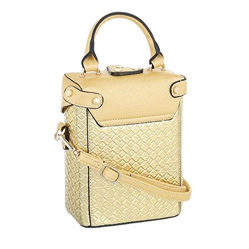 iTal-dEsiGn Damentasche Sehr Kleine Schultertasche Handtasche Kunstleder TA-A178 Gold