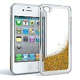 Apple iPhone 4 / 4S Schutzhülle mit Flüssig-Glitzer I von EAZY CASE I Handyhülle, Schutzhülle, Back Cover mit Glitter Flüssigkeit, aus TPU / Silikon, Transparent / Durchsichtig, Gold