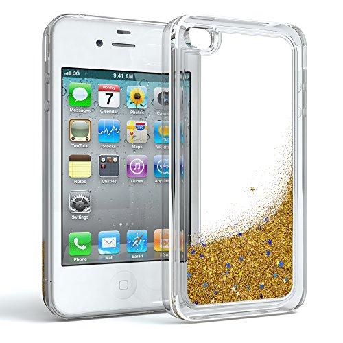Apple iPhone 4 / 4S Schutzhülle mit Flüssig-Glitzer I von EAZY CASE I Handyhülle, Schutzhülle, Back Cover mit Glitter Flüssigkeit, aus TPU / Silikon, Transparent / Durchsichtig, Gold Iphone 4 Gold Case