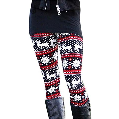 FEITONG Frauen Dame Skinny Geometrischer Druck Beiläufige Leggings dünne Hosen (XL, Rot)