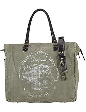 Sunsa Damen Vintage Tasche Wochenendtasche Schultertasche Handtasche Sporttasche aus Canvas & Leder 42x34x20 cm