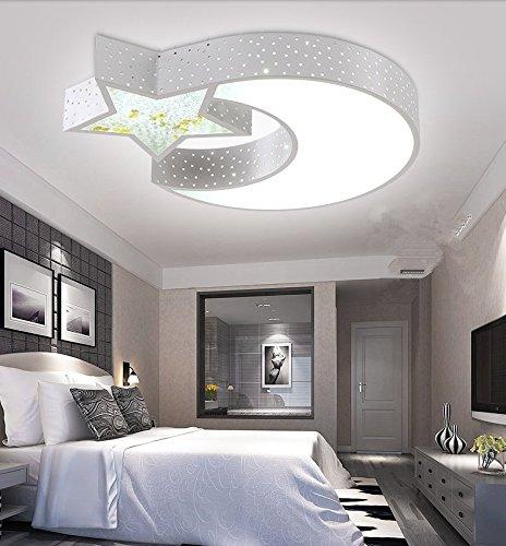 JUZHIJIA Acryl Deckenleuchte Mond Schlafzimmer Kinderzimmer Lampe Stern Lampe Arbeitszimmer Esszimmer Lampe Wohnzimmer Lampe. 680 Mm
