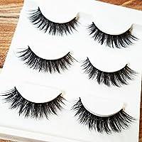 3 Pairs Natural Thick 3D False Eyelashes Fake Cross Eye Lashes Extensions (3D-15)